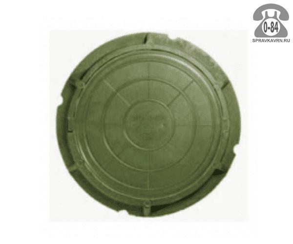 Люк канализационный полимерно-композитный лёгкий 3 т 750 мм зелёный