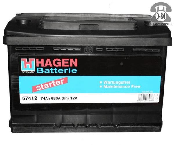 Аккумулятор для транспортного средства Хаген (Hagen) 6СТ-74 полярность прямая, 278*175*190мм