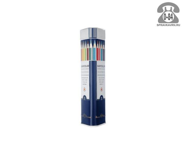 Цветные карандаши E37121 цветов 24 металлический тубус