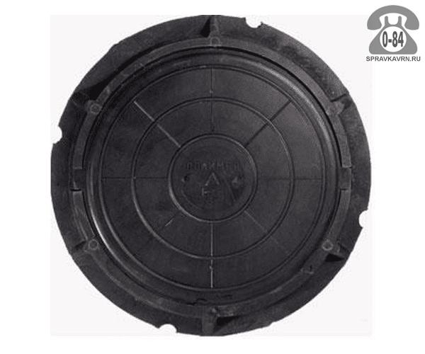 Люк канализационный полимерный лёгкий 3 т 730 мм чёрный
