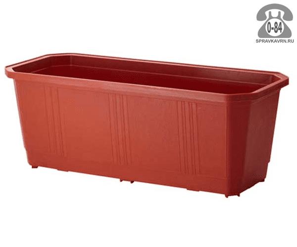 Ящик балконный пластик 40 см без поддона терракотовый Россия