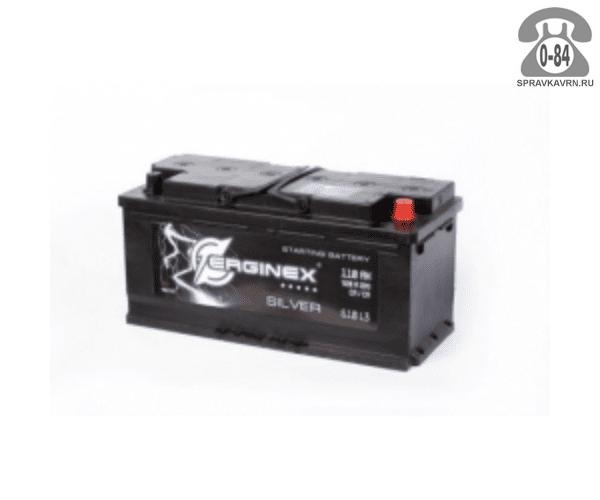 Аккумулятор для транспортного средства Эрджинекс (Erginex) 6СТ-110 обратная полярность 352*175*190 мм