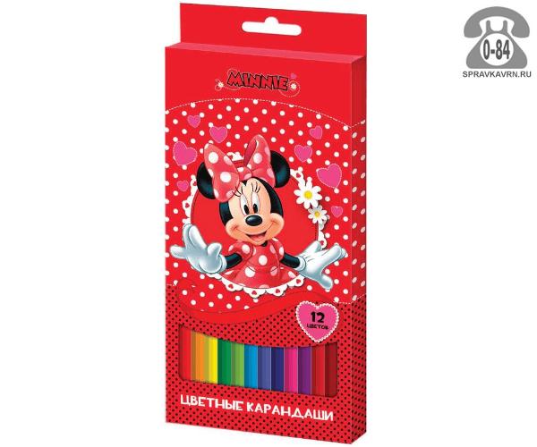 Цветные карандаши Минни цветов 12 картонная коробка