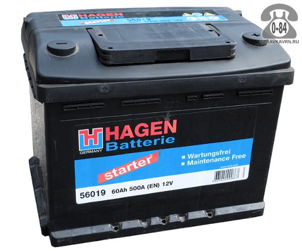 Аккумулятор для транспортного средства Хаген (Hagen) 6СТ-60 полярность обратная, 242*175*190мм