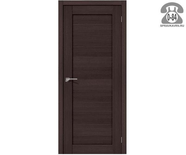 Межкомнатная деревянная дверь ЭльПорта, фабрика (el PORTA) Порта-21 глухая (без стекла) 70 см Венге Вералинга (Wenge Veralinga)
