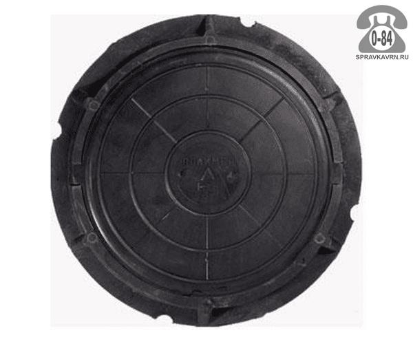 Люк канализационный полимерный лёгкий 5 т 760 мм чёрный