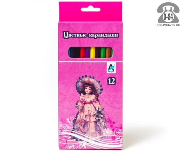 Цветные карандаши Кукла цветов 12 картонная коробка