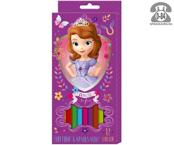 Цветные карандаши София цветов 12 картонная коробка