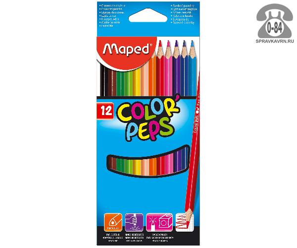 Цветные карандаши Колор Пепс 12 цветов трёхгранные
