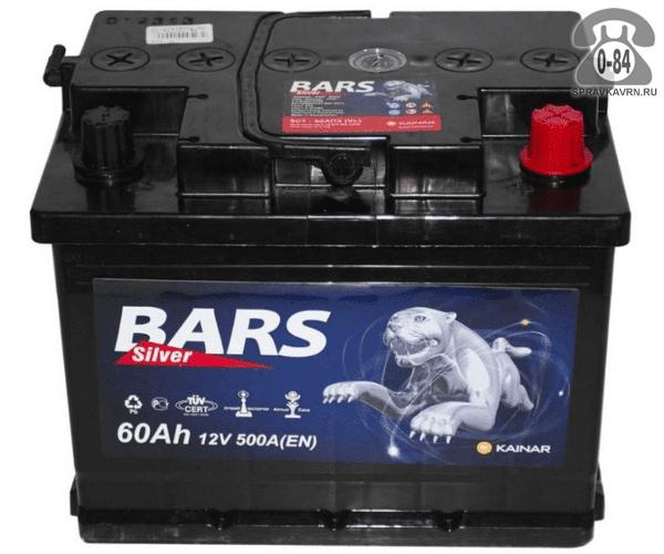 Аккумулятор для транспортного средства Барс (Bars) 6СТ-60 АПЗ (низкий) полярность обратная, 242*175*175мм