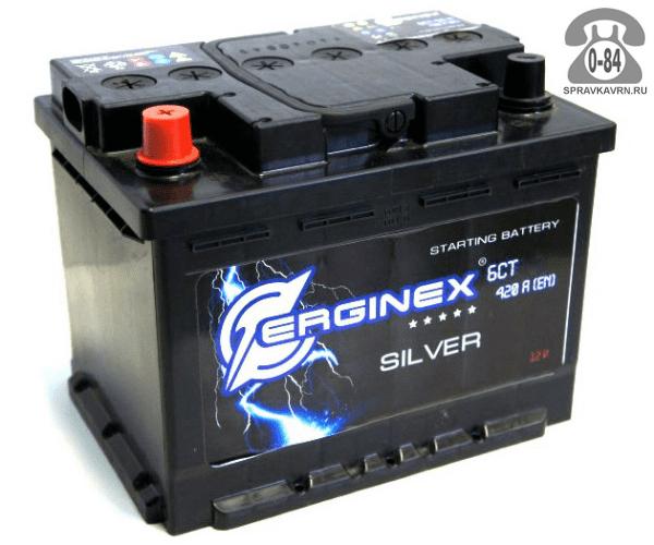 Аккумулятор для транспортного средства Эрджинекс (Erginex) 6СТ-62 прямая полярность 242*175*190 мм