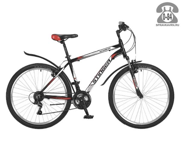 """Велосипед Стингер (Stinger) Element 26 (2017), рама 20.5"""", черный размер рамы 20.5"""" черный"""