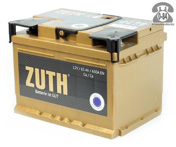Аккумулятор для транспортного средства Зуф (Zuth) 6СТ-65 (низкий) полярность обратная, 242*175*175мм