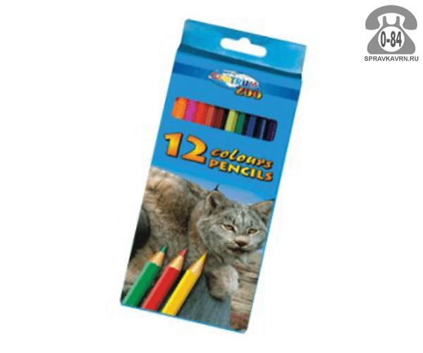Цветные карандаши Зоо (Zoo) цветов 12 картонная коробка