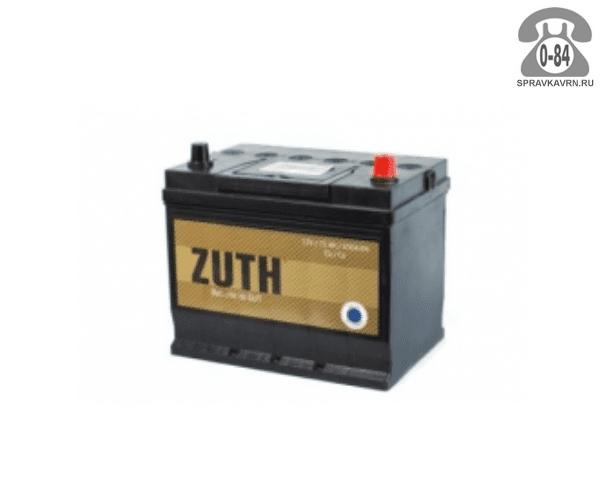 Аккумулятор для транспортного средства Зуф (Zuth) 6СТ-75 полярность обратная, 260*172*225мм