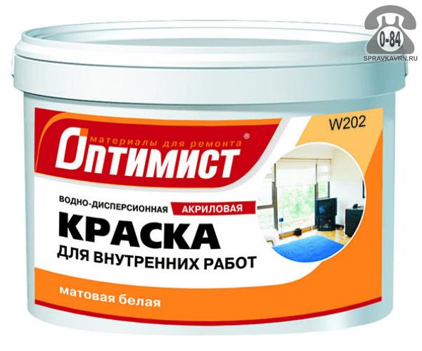 Краска Оптимист Для внутренних работ 1.5 кг матовая белая