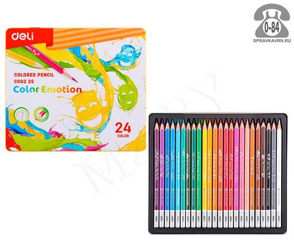 Цветные карандаши Color Emotion цветов 24 металлический пенал