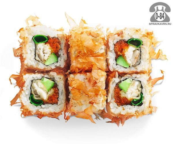 Роллы Отори ролл традиционные морской окунь темпура стружка тунца огурец тобико 6 шт. 140 г