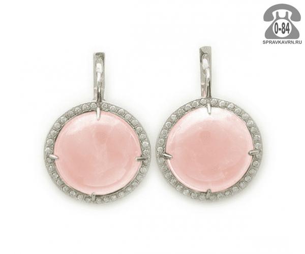 Серьги серебро розовый кварц