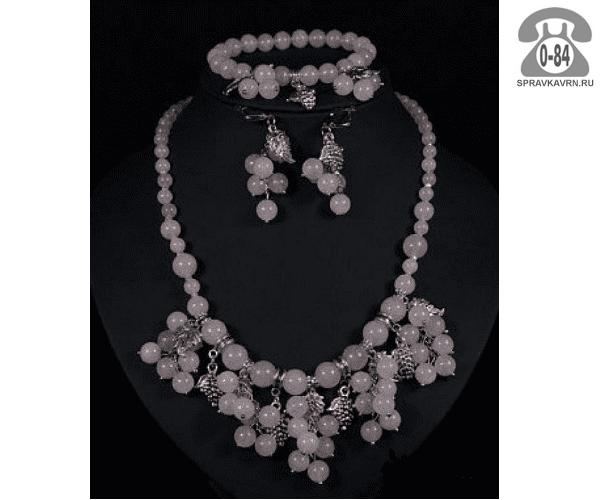 Комплект ювелирных украшений Гроздь вставка розовый кварц