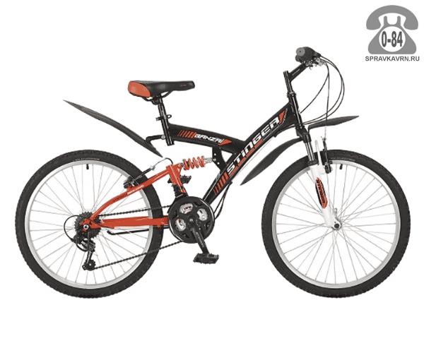 """Велосипед Стингер (Stinger) Banzai 24 (2017), рама 17"""", черный размер рамы 17"""" черный"""