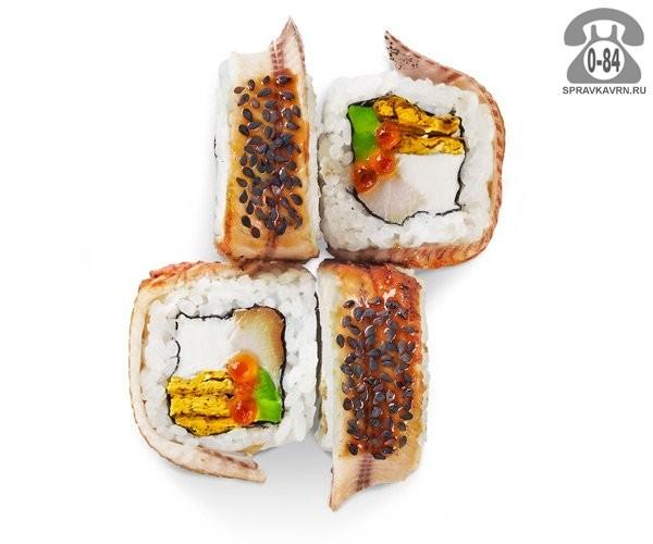 Роллы Унаги тори традиционные копченый угорь и курица красная икра авокадо мягкий сыр кунжут соус унаги 4 шт. 150 г