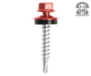 Саморез шестигранная головка с ЭПДМ-прокладкой (EPDM-прокладкой, шайба с резиновой прокладкой) кровельный 6.3 мм 19 мм оцинкованный сталь сверло Россия
