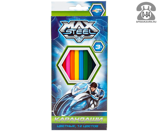 Карандаши цветные Max Steel 88 мм 12 цветов