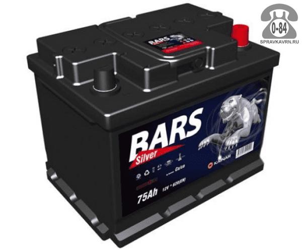 Аккумулятор для транспортного средства Барс (Bars) 6СТ-75 АПЗ полярность обратная, 207*175*175мм