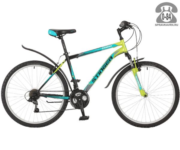 "Велосипед Стингер (Stinger) Caiman 26 (2017), рама 18.5"", зеленый размер рамы 18.5"" зеленый"