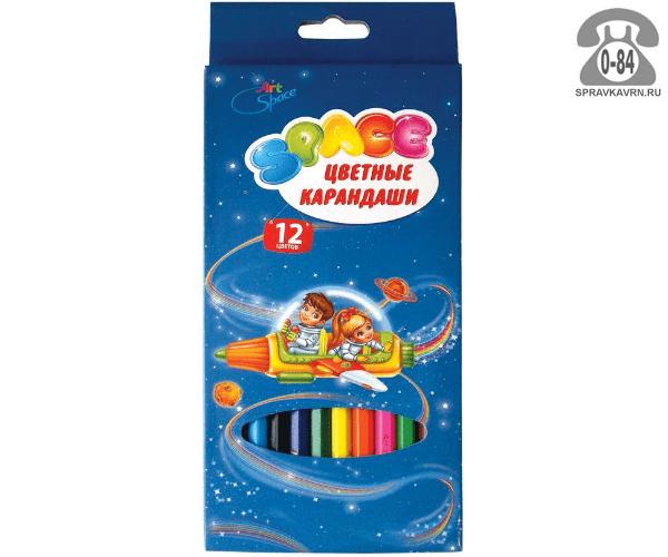 Цветные карандаши Космонавты цветов 12 картонная коробка