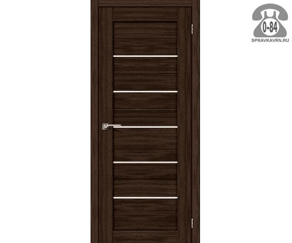Дверь межкомнатная деревянная ЭльПорта, фабрика (el PORTA) Порта-22 Magic Fog цвет: венге (wenge) остеклённая 80см