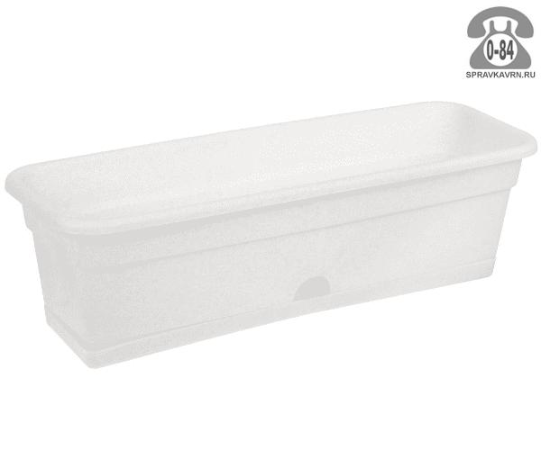 Ящик балконный пластик 60 см 20 см 20 см с поддоном мраморный Россия