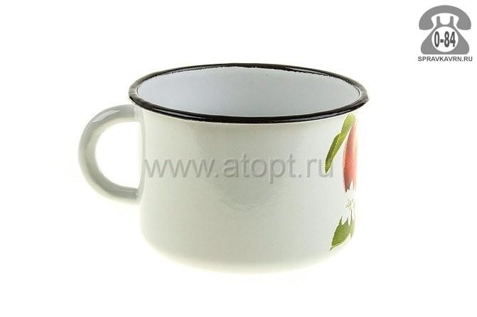 кружка эмалированная 0,6 л (1с 6КрД) белая с рисунком (Россия)