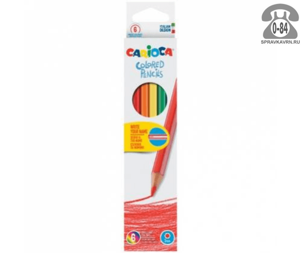 Цветные карандаши Италия цветов 6 картонная коробка