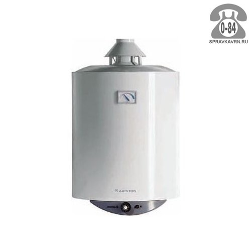 Водонагреватель накопительный газовый Хотпойнт-Аристон (Hotpoint-Ariston) Super SGA 100 100 л вертикальная эмаль настенный индикация включения с термометром с автоматическим включением с автоматическим выключением с защитой от перегрева газ-контроль с автоподжигом магниевый анод защита от включения без воды предохранительный клапан