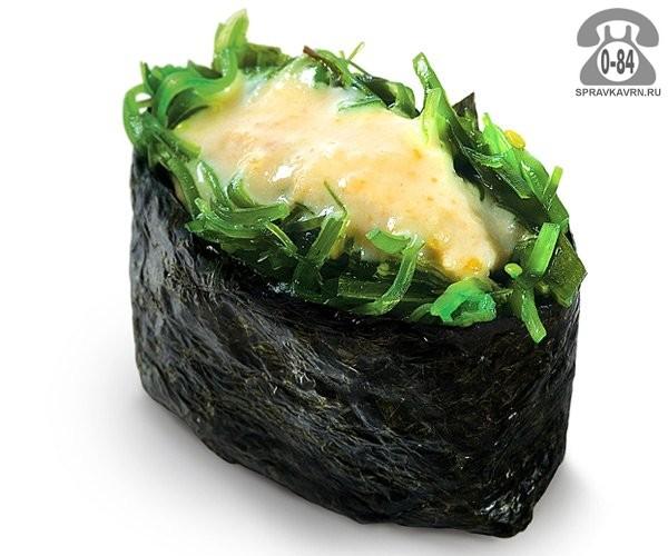 Суши Хияши гункан классические с салатом чука с ореховым соусом 30 г на дом