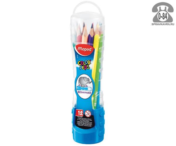 Цветные карандаши Колор Пепс 12 цветов пластиковый тубус
