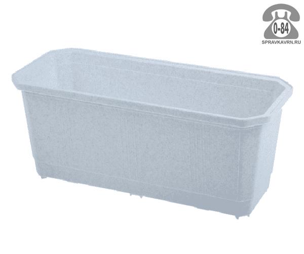 Ящик балконный пластик 40 см без поддона мраморный Россия
