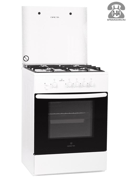 Газовая плита Грета (Greta) эмаль газовая 4 85 см 54 см 60 см 54 л 270 градус Цельсия газ-контроль духовки свет в духовке с крышкой с ящиком для посуды с электроподжигом
