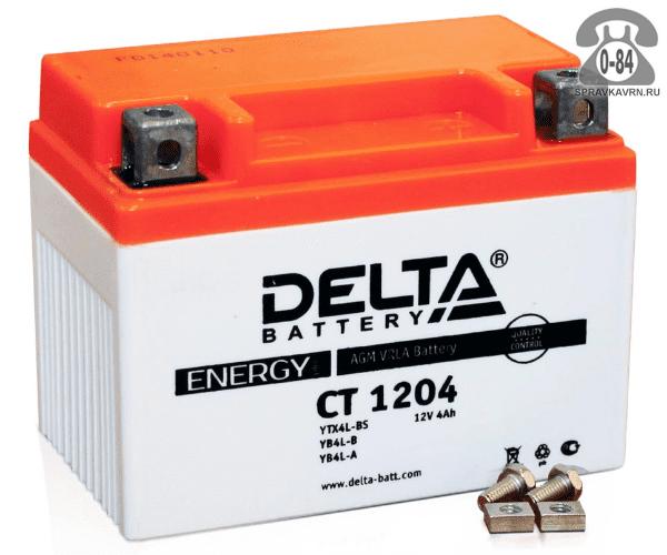 Аккумулятор для транспортного средства Дельта (Delta) СТ 1204 AGM обратная полярность 114*70*89 мм
