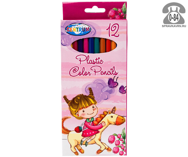 Цветные карандаши Единорог цветов 12 картонная коробка