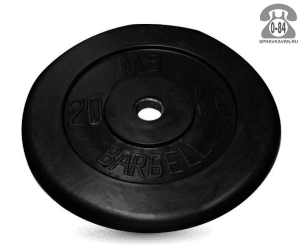 Диск для штанги Барбел обрезиненный 1.3 кг